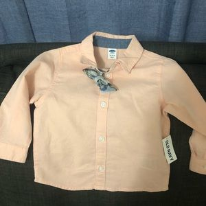 Salmon button down with bow tie. Brand new.
